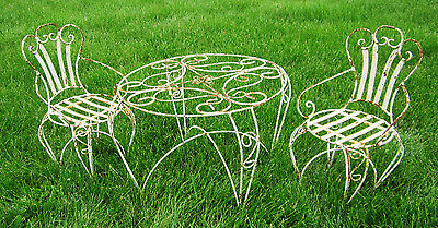 Wrought Iron Child's Curl Table and Chair Set