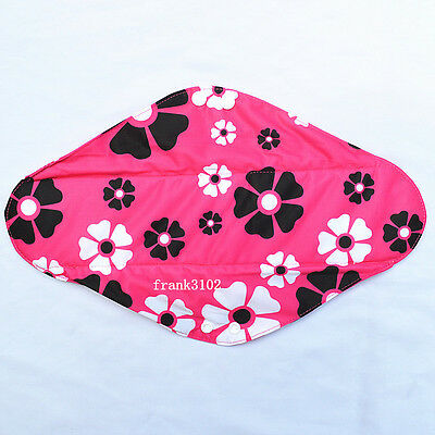 "Overnight 14"" Flower Washable Reusable Bamboo Cloth Mama Menstrual Sanitary Pad"