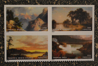2014USA #4917-4920 Forever American Treasures Hudson River School - Block of 4