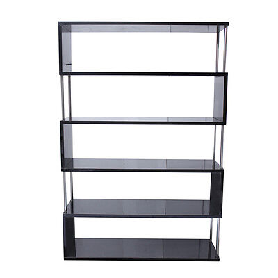 Bookshelf :: 5-Tier High Hi Gloss Shelf Bookcase Shelves BLACK - Modern Storage