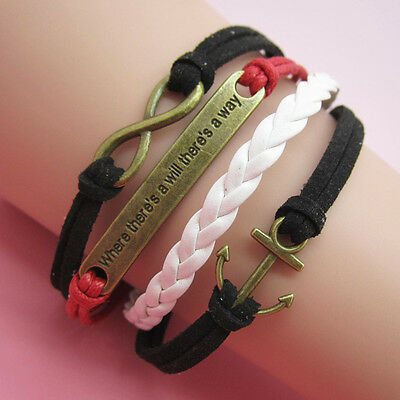 New DIY Infinity Anchors Leather Cute Charm Black/White Bracelet Plated copper A