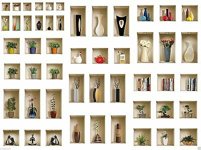 Set 3 Art Wall Stickers Muraux 3D Amovible Décor Mural Tile Decal Trompe L'oeil