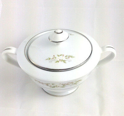 Vintage International Silver Co Springtime #326 White Sugar Bowl Made In Japan