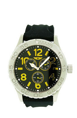 I by Invicta IBI41705-002 Men's Analog Gold Tone Day Date Black Silicone Watch