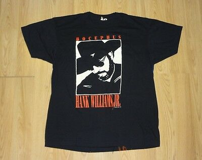 VTG Hank Williams Jr. 1991 Pure Hank Tour T-Shirt Black XL Bocephus Misprint