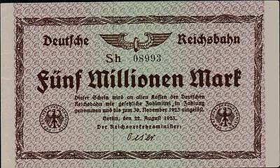 1923 Germany Weimar Republic 5.000.000 mark banknote Reichsbahn