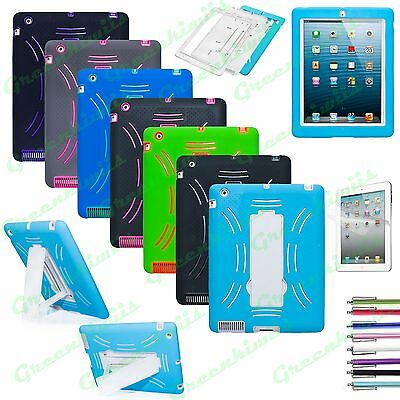 Heavy Duty Hybrid Case Cover For iPad 2 3 4 / iPad Mini Tablet W/ Built in Stand