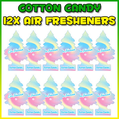 12x COTTON CANDY LITTLE TREES CAR TRUCK AIR FRESHENER SCENT DEODORISER TREE