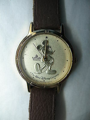 Lorus Walt Disney Mickey Mouse Gold-Tone Watch w/ Brown Leather Band Not Working