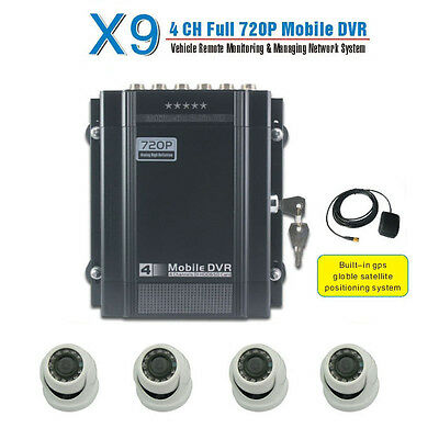 720P H.264 4 Ch Channel Car Vehicle DVR Camera System With GPS + 4pcs AHD Camera