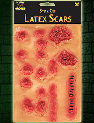 HALLOWEEN Stick on Scars Scabs Stitches Wounds Burns Zombie Plague Fancy Dress