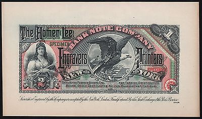 THE HOMER LEE BANK NOTE Co. SPECIMEN NOTE RARE WL6962