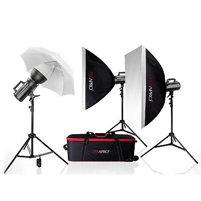 GS400 FanCool Bowens S Fit Strobe Flash Kit School Portrait Photography 3-points