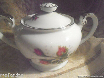 Kyoto China Silvia Sugar Bowl w/ Lid 8007P Floral Red Rose Platinum Trim Japan