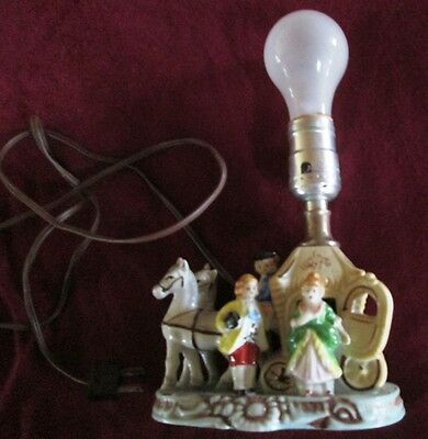 1940s Hand Painted Horse and Buggy Electric Lamp