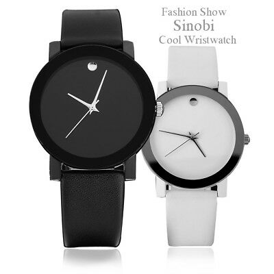 New Fashion Black/White Mens Womens Leather Quartz Analog Wrist Watch Boy Girl's
