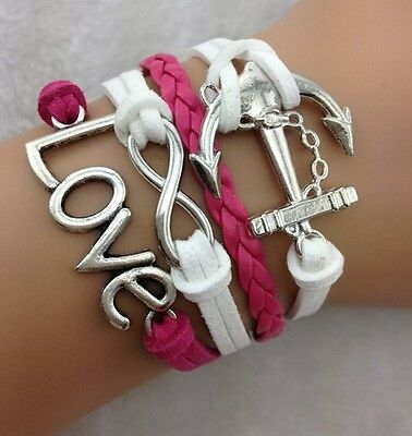 NEW Hot Retro Infinity LOVE Anchor Leather Charm Bracelet plated Silver