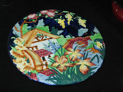 MALING PLATE in HAND PAINTED BLUE COTTAGE AND MILL DESIGN  EXCELLENT CONDITION