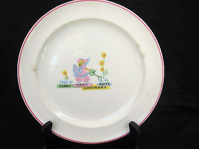 vintage Mary Quite Contrary Garden Nursery rhyme child baby Plate pottery dish