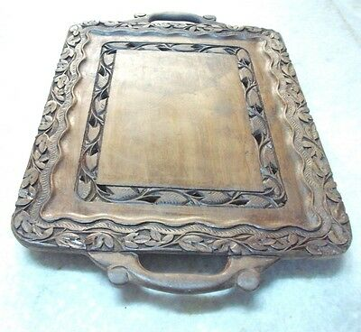 OLD VINTAGE ANTIQUE WOODEN CARVING  SERVING TRAY RECTANGLE   SHAPE