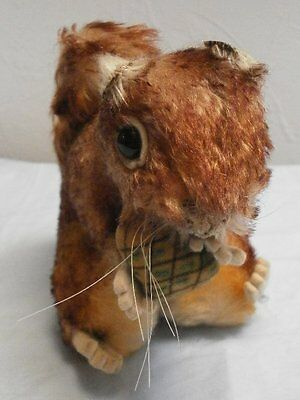 """antique / vintage Steiff Squirrel, 1950´s , Perri with button and Nut 4.7"""" /12cm"""