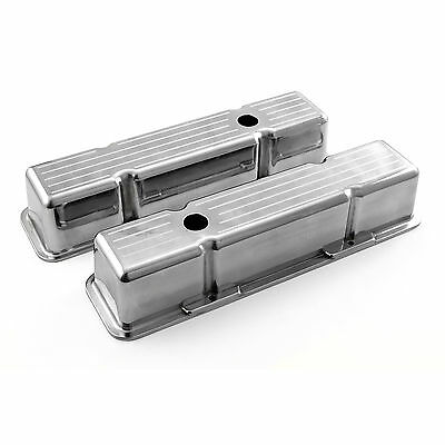 Chevy SBC 350 Polished Aluminum Ball Milled Valve Covers - Tall w/ Hole