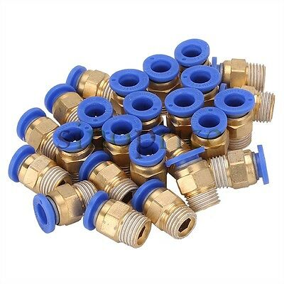 """25pcs 8mm Pipe Pneumatic Straight Connector 1/4"""" BSPT Thread for PU Trachea Hose"""