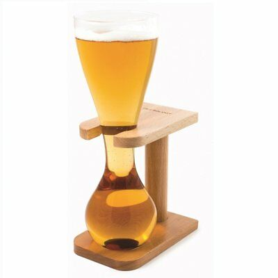 Quarter Yard of Ale Glass with Wooden Stand Kwak / Belgian Glassware Design Gift