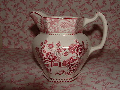 Wood & Sons England * WINCANTON Red/Pink Transfer Jug Pitcher * EXCELLENT!