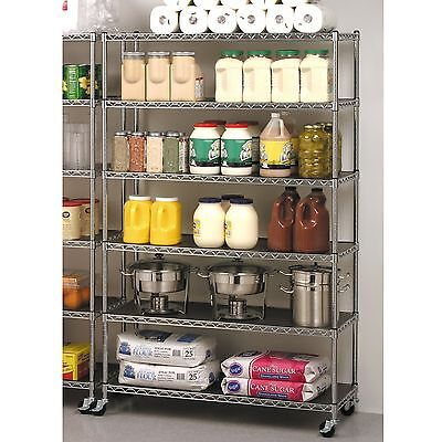 Seville 6 Shelf Shelving Chrome Wire Commercial Storage Rack w/ Casters Wheels