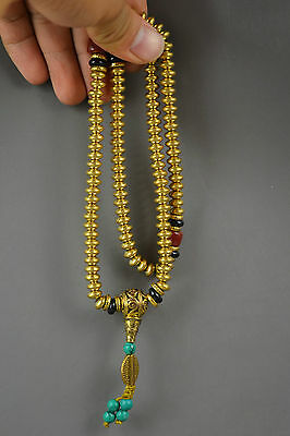 ChineseHandwork Copper Carving Slippy Bead Minority Ethnic Special Necklace