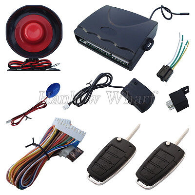 Universal Car Alarm System With 2 Flip Key Remote Controls Suitable For All Cars
