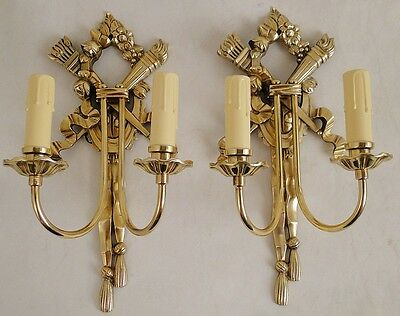 Antique French empire sconces solid Chiselled polished gold bronze 2 wood candle