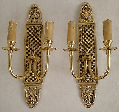 Antique French empire pair sconces solid Chiselled polished gold bronze 2 candle