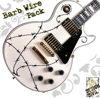Awesome BARB WIRE Quality Guitar Decal Stickers Fits all Guitar Makes and Sizes!