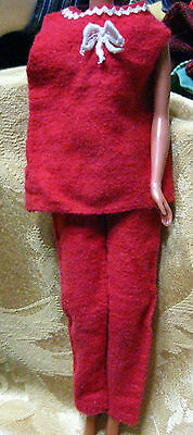 Vintage Handmade Barbie Doll Clothes Pant Outfit Red