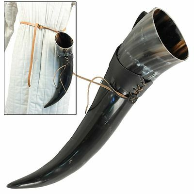 Medieval Costume XL Drinking Bovine Horn with Black Leather Belt Frog