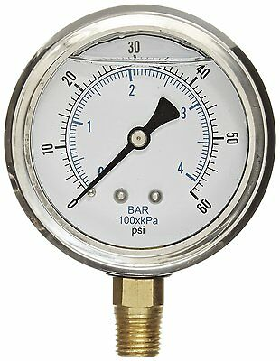 "Liquid Filled pressure gauge compressor LOWER MNT 1.5"" FACE  0-60 1/8"" NPT"