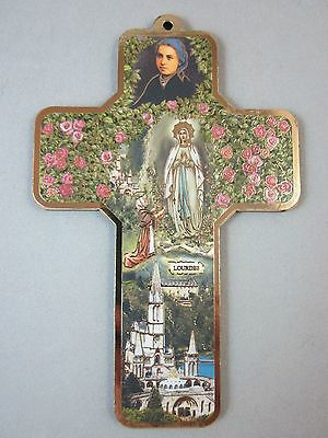 "Our Lady of Lourdes Picture Cross on Wood  5"" Made in Italy"