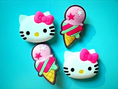 Jibbitz Clog Shoe Charm Plugs 4 Hello Kitty Ice Cream Fit Crocs Wristbands Belts
