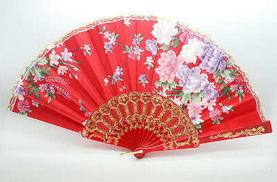 Asian Chinese Bamboo Hand Held Folding Red Floral Pattern Silk Gold Lace Fan
