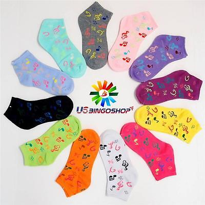 12 Pair New Cotton Women's Girls  Music Casual Ankle Low Cut Socks 9-11 ms601100