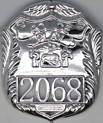 POLICE BADGE Costume Accessory Plastic Silver Fancy Dress Party Officer Cop New