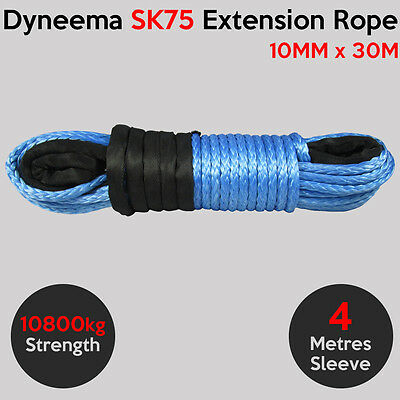 10MM X 30M Dyneema SK75 Extension Winch Rope Synthetic Cable 4X4 Offroad Car Tow