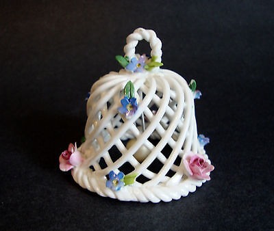 Porcelain Crown Staffordshire Made In England Lattice Bell with Applied Flowers