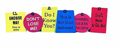 6 Piece Luggage Tag Set - Made by JetSet - 6 Luggage Tags w/ Different Slogans.