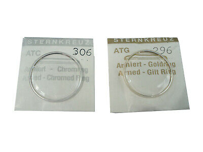 Replacement Domed Watch Glass / Crystal - 27.8mm - 32.4mm - Chrome Or Gold Ring