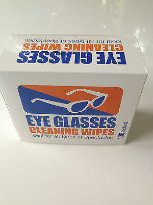 100 x Safety glasses cleaning wipes *pre moistened*