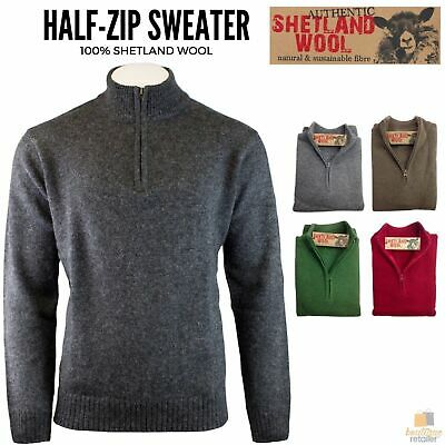 100% SHETLAND WOOL Half Zip Up Knit JUMPER Pullover Mens Sweater Knitted New