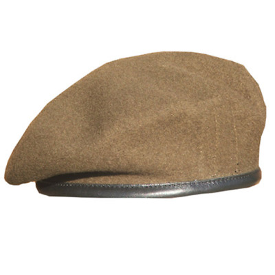 British Army Khaki Officers Silk Lined Small Crown Beret Guards R Anglian Dol